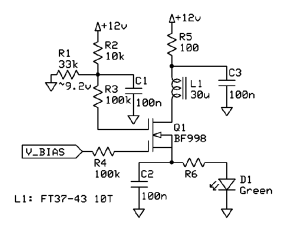 Schematic of dual gate MOSFET bias experiment