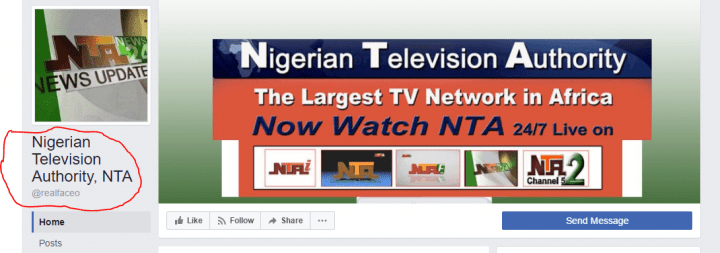 fake NTA facebook page