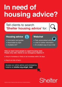 Shelter leaflet, with link to http://shelter.org.uk/get_help