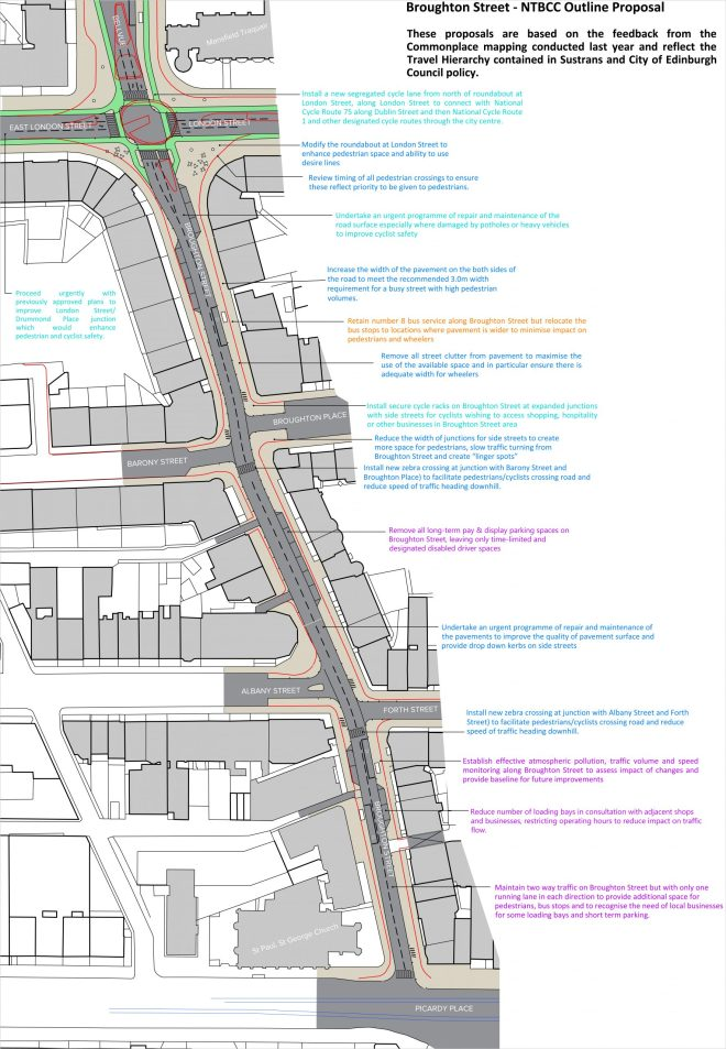 map of NTBCC's proposal for Broughton St. Text on this image is reproduced below.