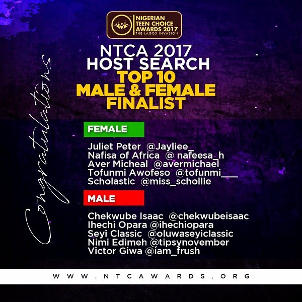 Hurray!! See the finalists of the NTCA 2017 Host Search