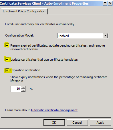Questionhow to configure certificate auto enrollment using group double click certificate services client auto enrollment yelopaper Images