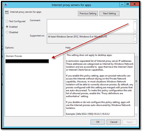 Question: Windows Server 2012 Windows 8 Proxy Settings Not