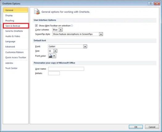 microsoft onenote 2010 backup folder location and configuration