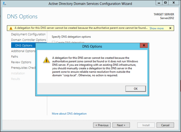Error: A delegation for this DNS server cannot be created