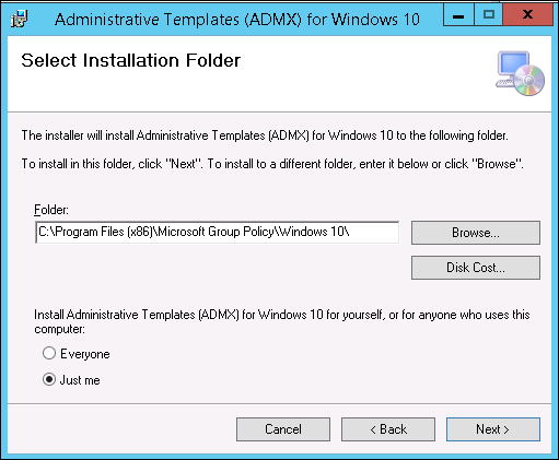 note the folder path