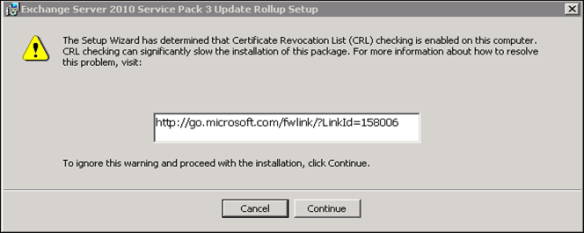 Error: The setup wizard has determined that Certificate