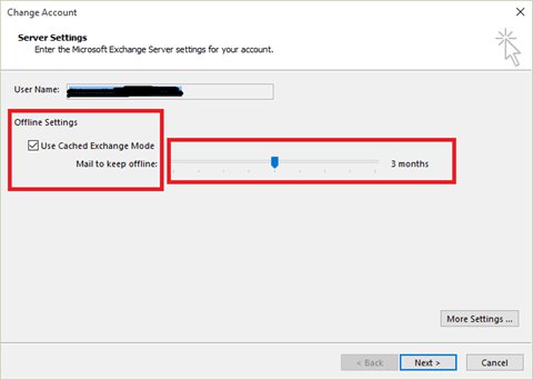 outlook 2013 2016 mail to keep offline group policy settings