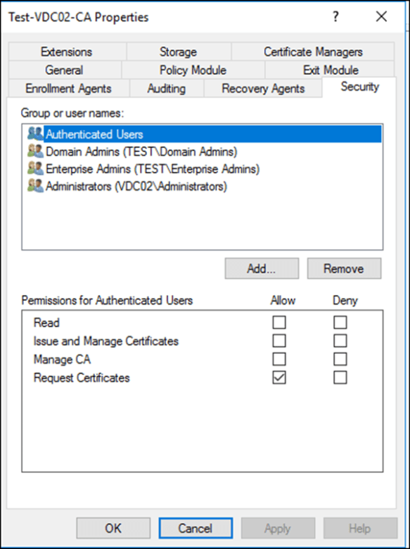 Assign Permissions to Manage Certificate Authority Windows Server