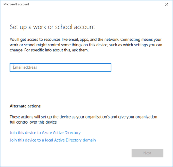 How to Join Windows 10 1709 To Azure Active Directory