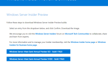 Windows Server Insider Preview Build 17035 Released - Cloud