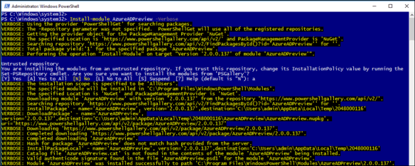 How To Install AzureAD Preview PowerShell Module - Cloud and