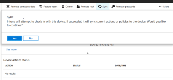 Start a Manual Sync of IOS Devices from The Intune Portal