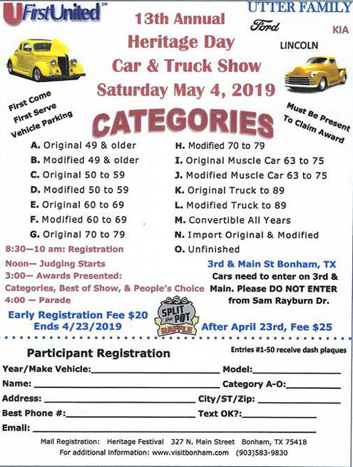 Heritage Day Car, Truck Show in Bonham TX on May 4