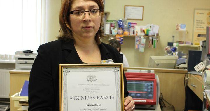 Kurzemes reģiona labākā pasta nodaļas operatore – kandavniece Kristīne Ķēniņa