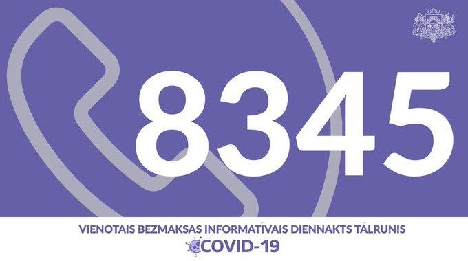 8345 – jauns Covid-19 diennakts tālrunis
