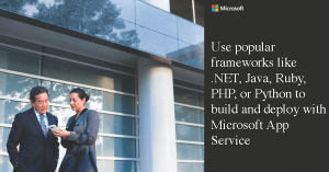 Use popular frameworks like .NET, Java, Ruby, PHP, or Python to build and deploy with Microsoft App Service