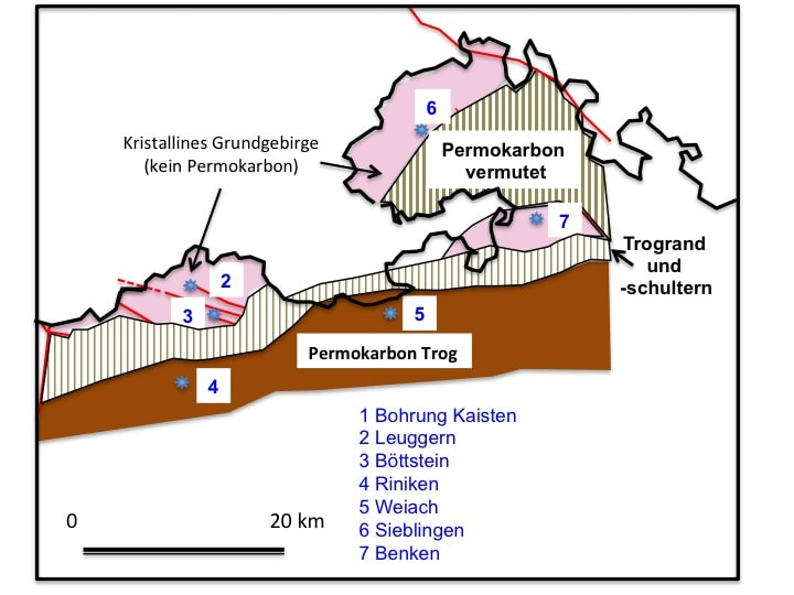 """Abbildung 1: Ausdehnung des Permokarbontroges in der Nordostschweiz und Platzierung der Tiefbohrungen der Nagra im Rahmen des Projekts """"Gewähr"""" (vereinfacht nach Diebold et al. 1991)"""