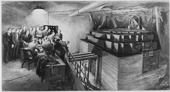 Erste nukleare Kettenreaktion (https://commons.wikimedia.org/wiki/File:First_nuclear_chain_reaction.jpg). Time: 3:22 p.m, December 2, 1942. Place: Racquets Court under West Stands of Stagg Field, University of Chicago. Photograph of an original painting by Gary Sheehan. Depicted is his version of the scene when scientist(s) observed the world's first nuclear reactor (CP-1) as it became self-sustaining. No photographers were present. Fifteen years later the artist worked for nearly four months to reconstruct the mood and physical details of this historic event.
