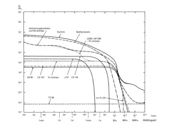 Figur 5: Aktivitätsverlauf des abgebrannten Brennstoffs, nach VSE et al. 1978, Angang 4, Seite A4-2.