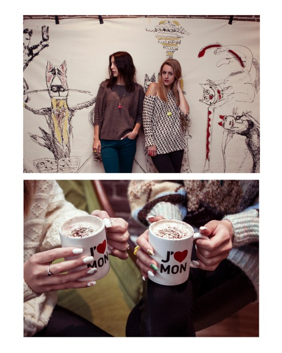 Mural Fashion Montreal Painting Coffee Cats Twin Girls Friends