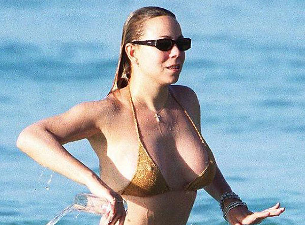 mariah carey big tits busting out of bikini