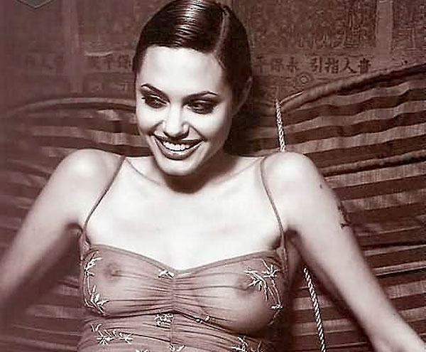 angelina jolie black and white braless nipples