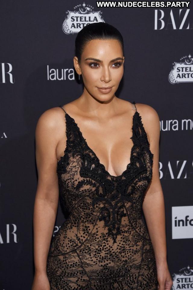 Kim Kardashian Party Black Sexy Posing Hot Beautiful Celebrity Babe