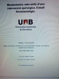 Mastectomia: más allá de una intervención quirúrgica. Estudio fenomenológico.