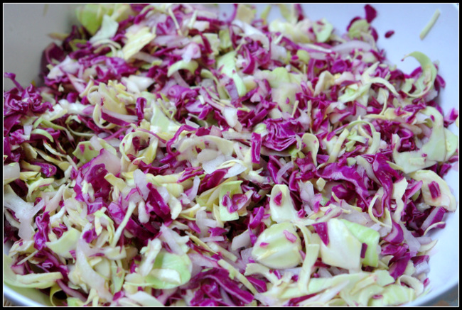 Ensalada de col con cilantro y cebolla