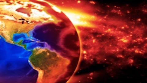 imagem do conceito da terra queimando lentamente com a poluição, mostrando norte central e américa do sul.  terra baseado em imagem da NASA.