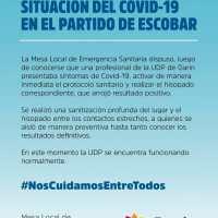 COVID-19 en Escobar: una profesional de la UDP de Garin dio positivo