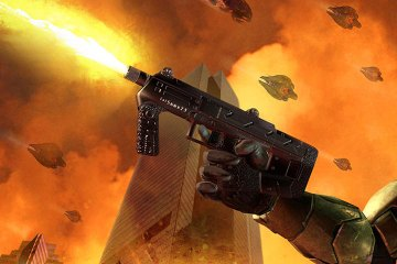 Master Chief holds two submachine guns as the world explodes in a orange-yellow haze around him.