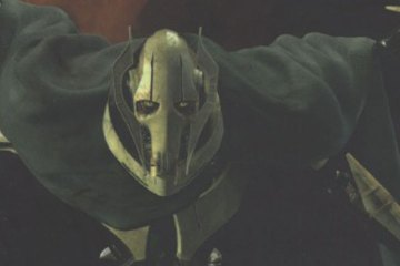 General Grievous -- a four-armed robot -- stares out at the reader.