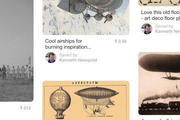 """A variety of pulp and weird science related photos that represent """"pins"""" on a Pinterest pinboard."""