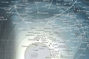 A blue-white map of the Star Wars galaxy depicting star systems and trade routes.
