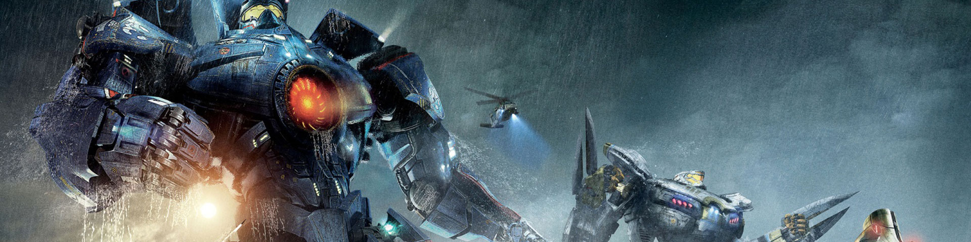 Three giant robots stand in a rain storm, ready to fight anything.