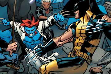 A massive melee of X-Men superheroes.
