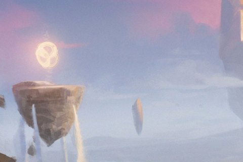 Inverted pyramid-like stone monoliths float in the ping-blue mists of a mountainous region.