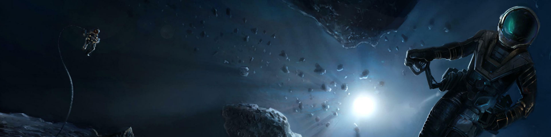An slim-suited astronaut flies through an asteroid field. A blue-white sun shines in deep space.