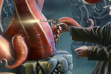 A tentacled horror emerges from a well. A male hero is caught by tentacles while another male hero shoots a gun at the monster. Further afield, a female investigator casts a spell against the creature.