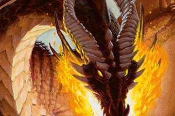 A red dragon prepares to breath fire.