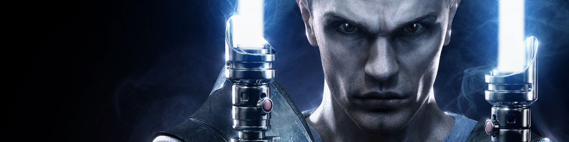 A close-up view of Starkiller, with two blue-white lightsabers held up to either side of his face.