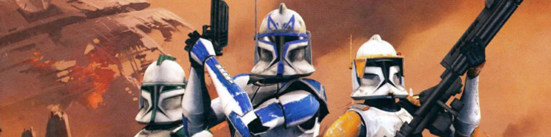 Three white-armored clone troopers stand against an orange background.