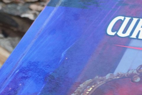 A close up view of the Curse of Straud cover, with a camp fire visible to the left side of the picture.