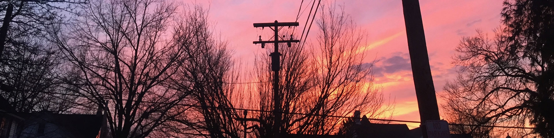 A brilliant pink, orange, and yellow sunset fades to blue. Power lines and trees are backlit by the sunset.