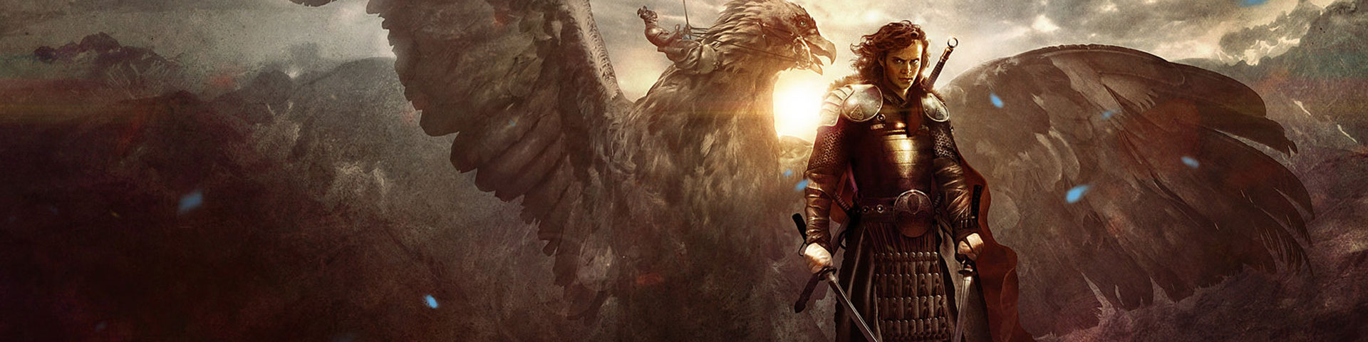 A human warrior stands with two blades drawn while a winged creature - perhaps a griffin - rises behind him.
