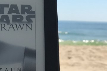 A photo of the Kindle cover for Thrawn, with the Jersey shore in the background.