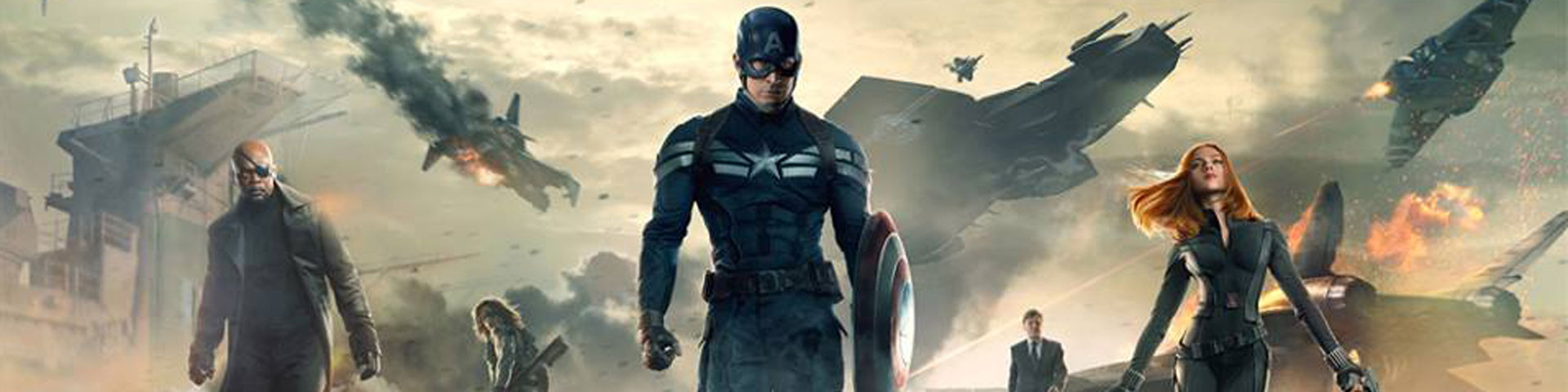 Captain America, in a dark blue uniform, is in the center of the photo while Nick Fury appears to the left and Black Widow to the right.