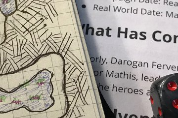 A hand-drawn dungeon map and gray dice with red pipes cover typed game notes.
